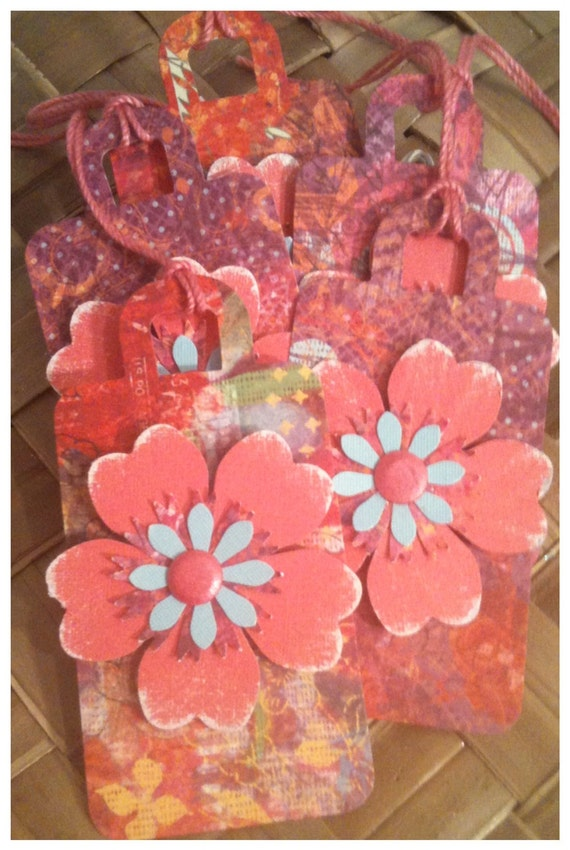 Handmade Diecut Floral Gift Tags Rose Pink Flowers Watercolor Boho Chic Euro Style Luggage Tag Handmade All Occasion Gift Tags Set of 5