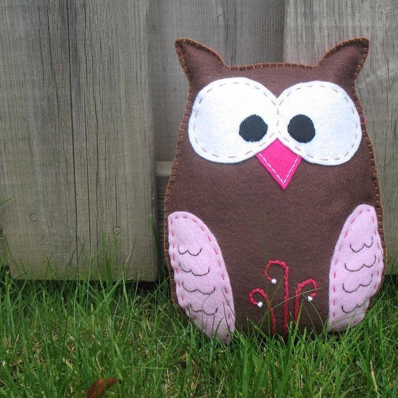 Stuffed Owl Sewing Pattern Felt Owl Plush by ...