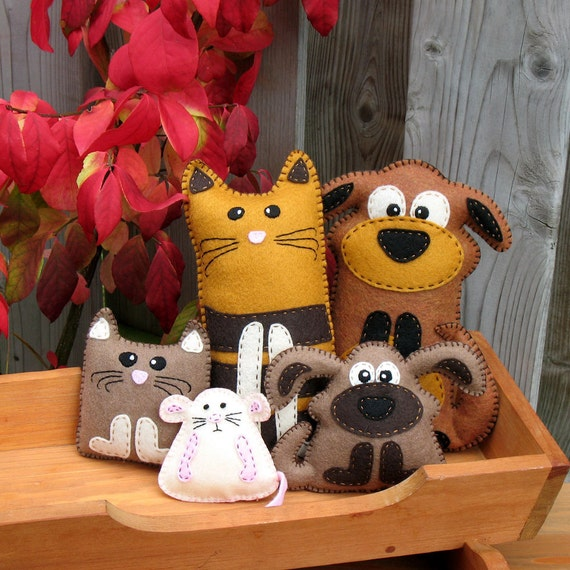 5 Hand Sewing PATTERNS - Cat Dog Kitten Puppy and Mouse - Make Your Own Pet Stuffed Animals - Easy
