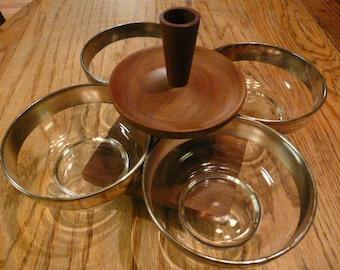 Walnut, American Made, Danish Style Spinning, Condiment Bowls