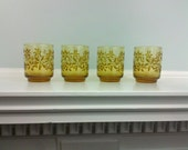 Amber Juice Glasses - or use for candles - Pretty Flower Design - Vintage - Set of 4