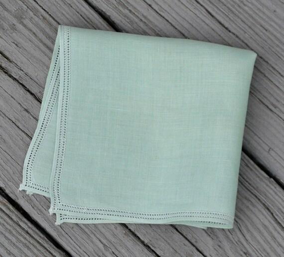 Mint / Sea Foam Green Pretty Trim Handkerchief - Vintage