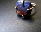 Sterling silver sodalite adjustable ring - tumbled gemstone - size 6-8 - gemstone jewelry by Lamazonian
