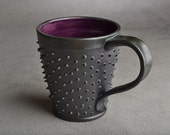 Spiky Mug: Made To Order Black and Royal Purple Dangerously Spiky Coffee Mug Cup by Symmetrical Pottery