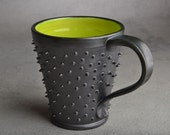 Spiky Mug Made To Order Black and Green Dangerously Spiky Mug by Symmetrical Pottery