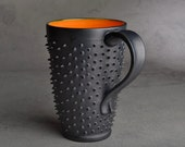 Tall Spiky Coffee Mug Made To Order Dangerously Spiky Travel Coffee Tea Mug Cup by Symmetrical Pottery