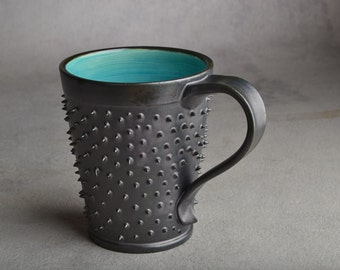 Spiky Mug Made To Order Black and Blue Dangerously Spiky Mug by Symmetrical Pottery