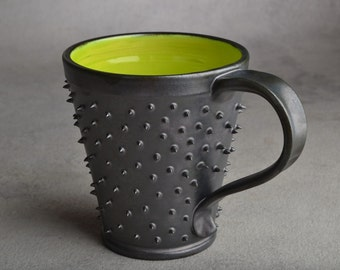 Spiky Mug Made To Order Black and Green Dangerously Spiky Mug by Symmetrical Pottery