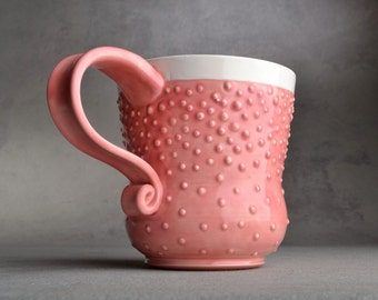 Curvy Dottie Mug Made To Order Pink And White Dottie Mug by Symmetrical Pottery