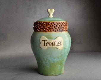 Dog Treat Jar Made To Order Patina Brown Spiky Collared Dog Treat Jar by Symmetrical Pottery
