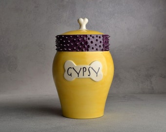 Dog Treat Jar Made To Order Yellow & Purple Spiky Collared Treat Jar by Symmetrical Pottery