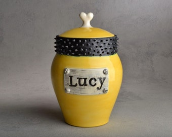 Dog Treat Jar Faux Metal Plaque Yellow & Black Spiky Collared Treat Jar by Symmetrical Pottery Made To Order