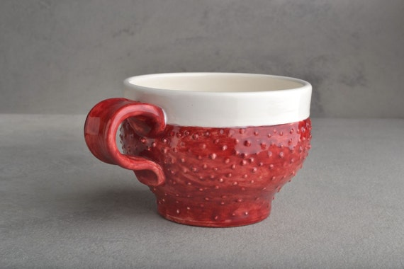 Dottie Mug Ready To Ship Red and White Dottie Soup/Cocoa Mug by Symmetrical Pottery
