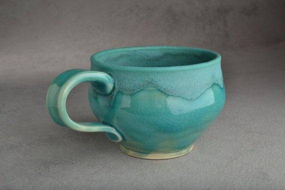 Ready To Ship Teal Stoneware Mug by Symmetrical Pottery