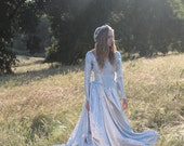 FORGET ME NOT Hand Dyed 1930's Vintage Wedding Gown One of  Kind Bridal Long Sleeve Princess Cut with Train