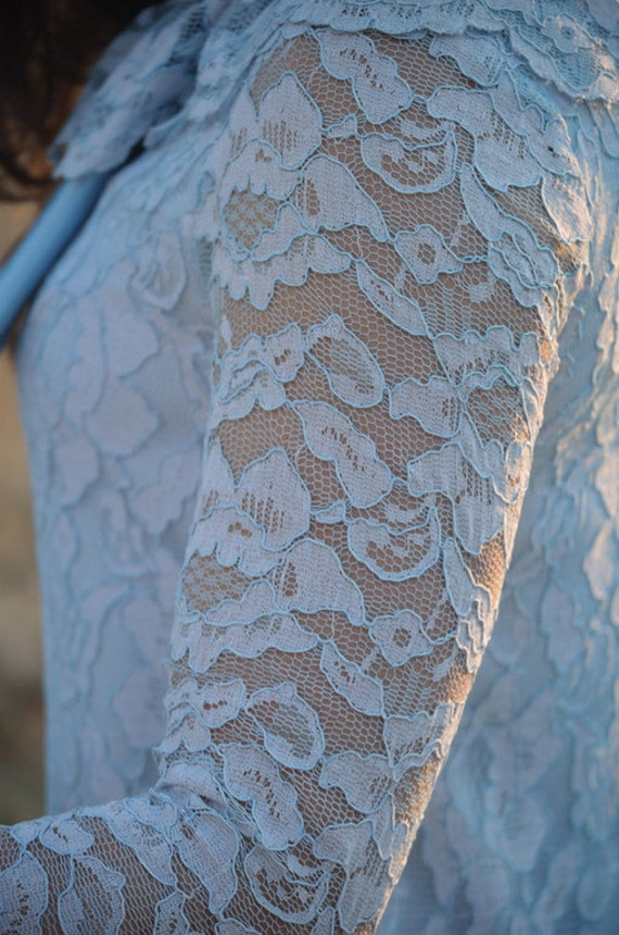 RESERVED for M&A POWDER BLUE 1960's Vintage Lace Shift Dress Classic 60s Big Bow Mini