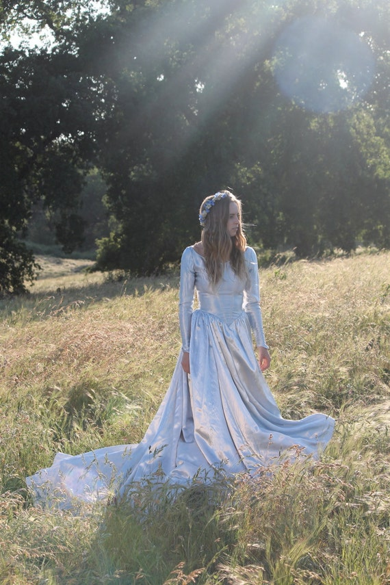 Reserved for Rebecca (second payment) FORGET ME NOT Hand Dyed 1930's Vintage Wedding Gown One of  Kind Bridal Princess Cut with Train