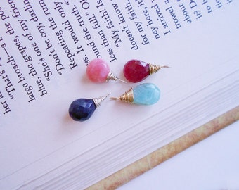 PRECIOUS GEMSTONE DROP Charm - Choice of Sapphire, Pink or Blue/Green Opal or Ruby - Sterling Silver or Gold-filled