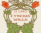 Poppies - -  ADHESIVE Bookplates -  Personalized Bookplates  - Vintage Bookplates - STICKERS-