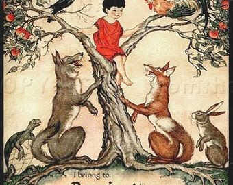 Boy Up a Tree - Fox -Aesop fables- Personalized Bookplate - vintage art