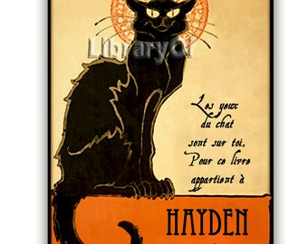 Le Chat -  Personalized Bookplate - In French or English