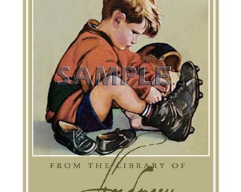 Dreams of Football - ADHESIVE Bookplates - Personalized Bookplates - Vintage Art - STICKERS- Lovely Gift