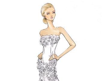 Harper - Bride Fashion Illustration - Print