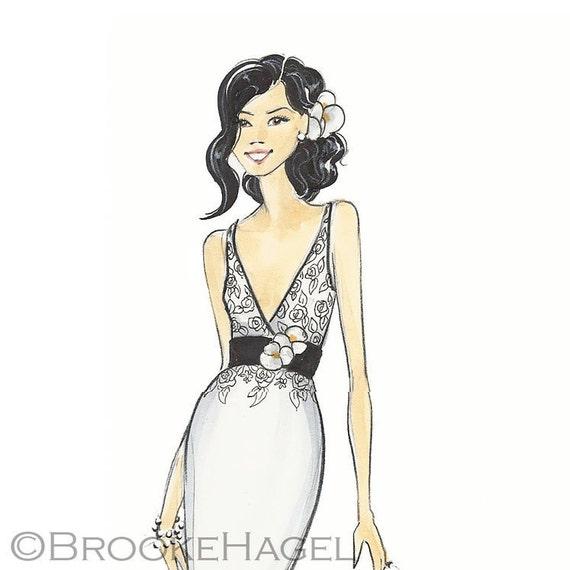Julie-Bridal Fashion Illustration Print-by Brooke Hagel
