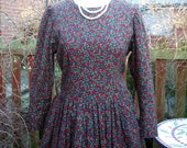 Vintage 1970s ditsy print autumn day dress full skirt by Emily Milsom, Norwich, England UK 14 US 12