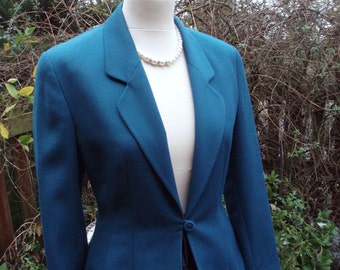 Vintage Jade Green Short Fitted Wool Mix Jacket - UK 8 US 4 6 c.1980s