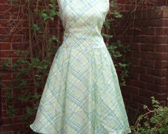 1950s original vintage day prom nylon rockabilly dress - Medium size