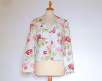 Laura Ashley Cream Floral Cotton Jacket UK 14 US 10 12 Petite fitting