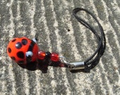 mobile phone / cell charm , Ladybird red glass bead charm