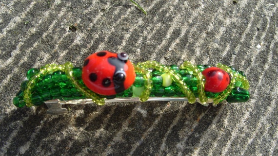 hair clip, hair barrette, Ladybird - green and red - glass beaded ladybug hairclip barrette