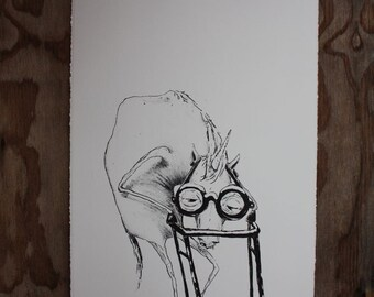 Its HELL Getting Old, a lithograph print on white paper