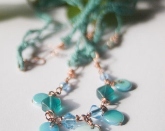 Turquoise Blue Fiber Necklace with Shell and Copper Accents - Rain Drops - Art Jewelry by Sarah McTernen