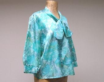 Vintage 1950s Blouse / 50s Aqua Floral Satin Maternity Top / Large