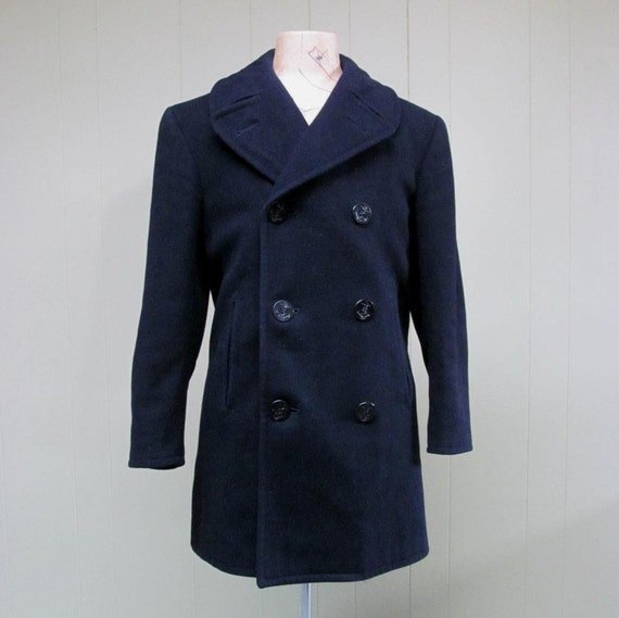 Vintage 1970s Navy Pea Coat / Medium