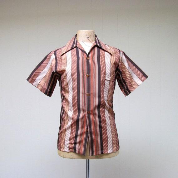 Vintage 1970s Mens Shirt / 70s Brown Striped Shirt Don Loper / Small