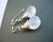 Sterling silver wire wrapped moonstone earrings - Emma