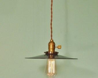 Vintage Industrial Hanging Light - Machine Age Minimalist Bare Bulb Pendant Lamp, Flat Steel Shade