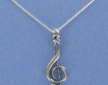 Sterling Silver Treble Clef Pendant on Card with Inspirational Quote