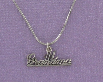 Sterling Silver Number 1 Grandma Pendant on Inspirational Card