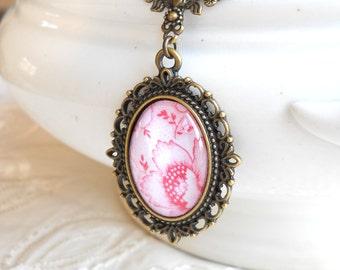 pendant necklace, bronze pendant necklace, flower pendant necklace, bronze necklace, pink pendant necklace