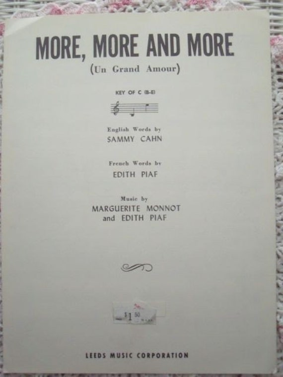 1954 More More and More Un Grand Amour French Song Book Sheet Music
