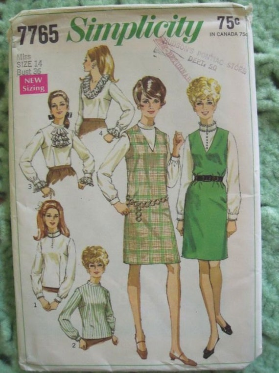 Vintage 1968 Simplicity Ruffle Blouse Jumper Pattern Unused