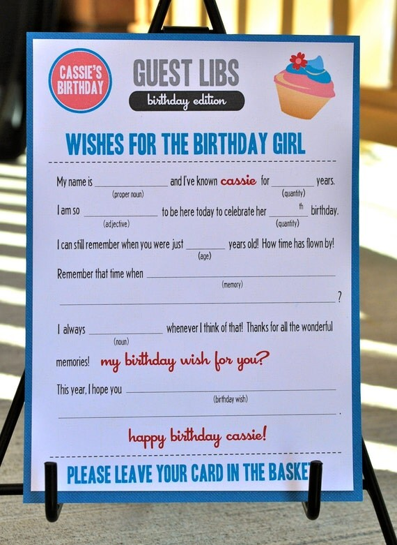 MAD LIBS - BIRTHDAY edition - Cupcake - digital file