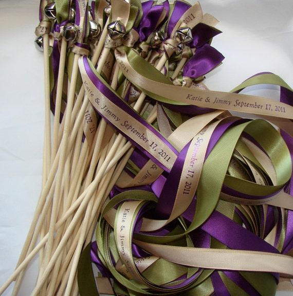 50 Wedding Wands Personalized Summer Winter ribbon Sticks Bells  Beach Farm Barn Blue Silver White Streamers Bubbles Birthday Party