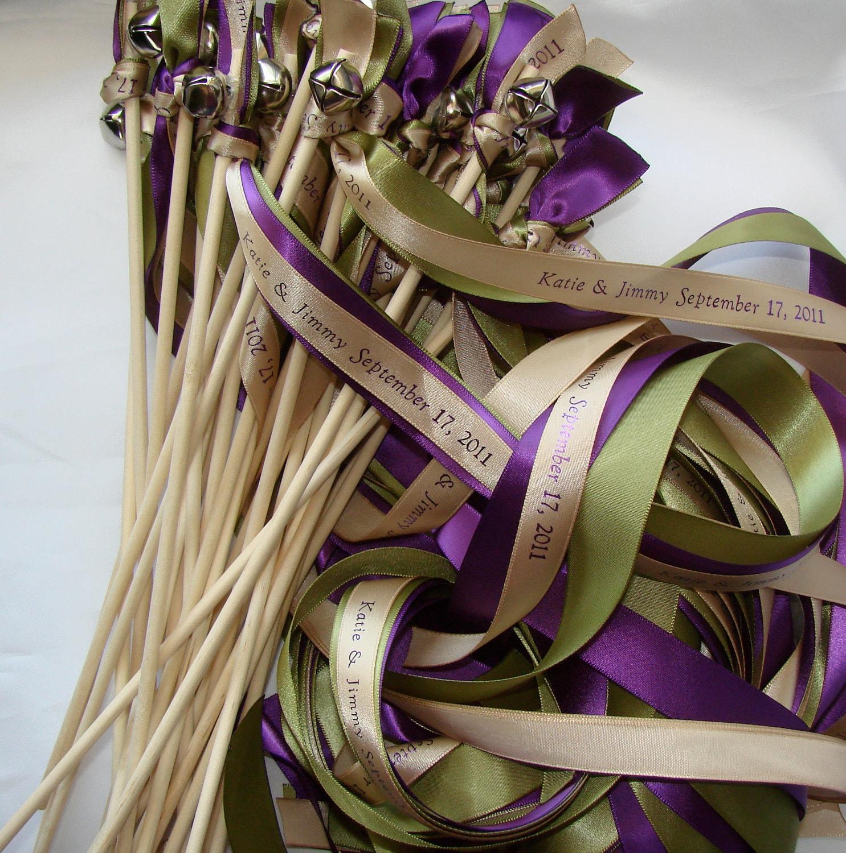 50 wedding wands personalized summer winter ribbon sticks bells beach farm barn blue silver white streamers