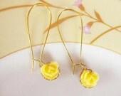 Lovely Yellow Rose LONG  Earrings,  resin cabbage rose, sweet 16,  feminine pretty